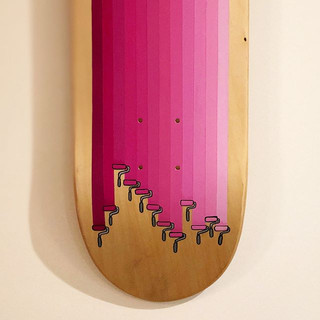 New roller deck 🍬acrylic on wood skateboard  #pink