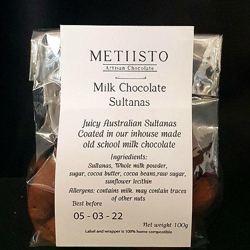 Milk chocolate sultanas