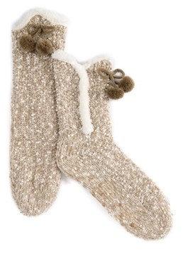 Oatmeal Knit Sherpa Lined Slipper Socks