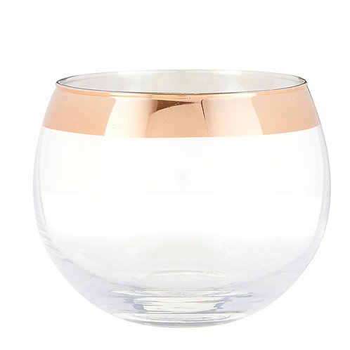 Rose Gold Rimmed Roly Poly Wine Glass