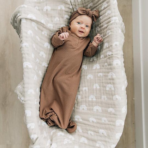 Mebie Baby Sand Rainbow Muslin Swaddle Blanket