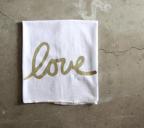 "Nesta Home Hand Printed Kitchen ""Love"" Towel"