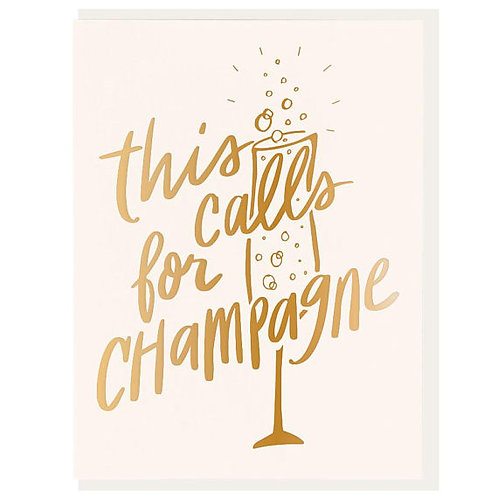 "Dahlia Press ""This Calls for Champagne"" Letterpress Notecard"