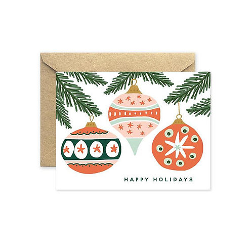 August & Oak Vintage Ornaments Holiday Notecard