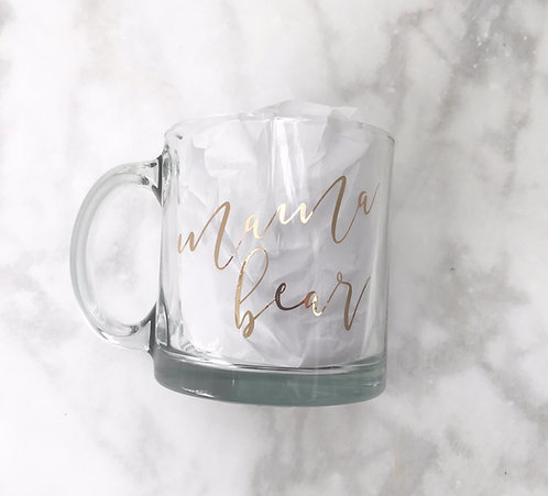 "Clear Glass ""Mama Bear"" Mug"