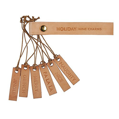 Holiday Leather Wine Markers