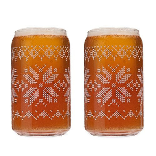 Nordic Etched Beer Can Glass
