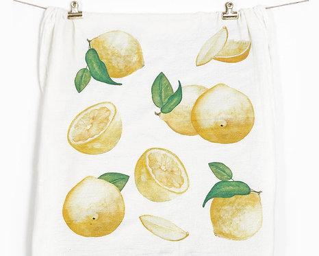 Honey Brush Design Lemons Flour Sack Towel