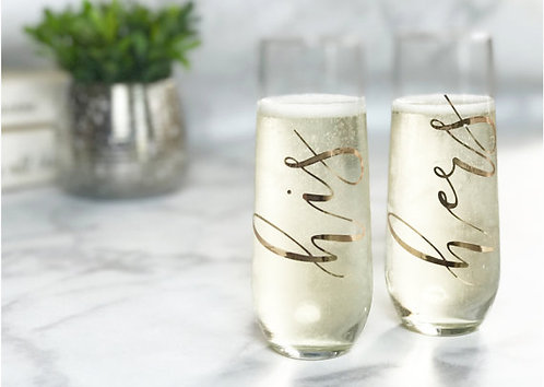 Set of His and Hers Stemless Champagne Flutes
