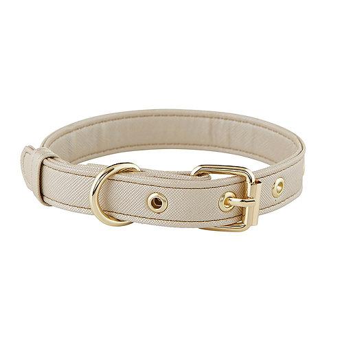 Champagne Gold Saffiano Dog Collar