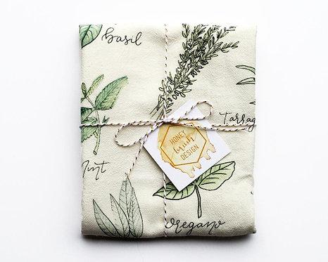 Honey Brush Design Herb Flour Sack Towel