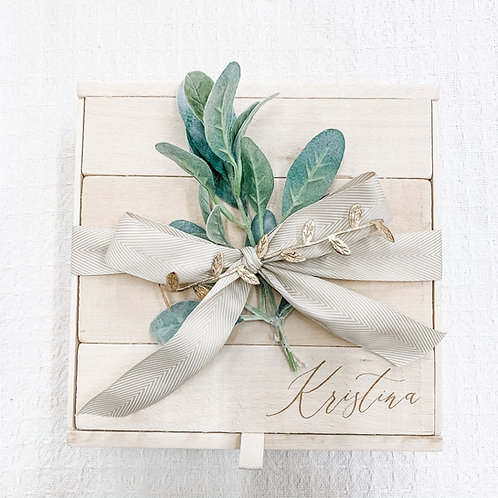 Large Pine Wood Gift Box with Name Engraving