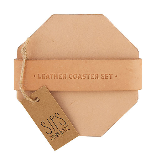 Set of 4 Leather Coasters - Natural
