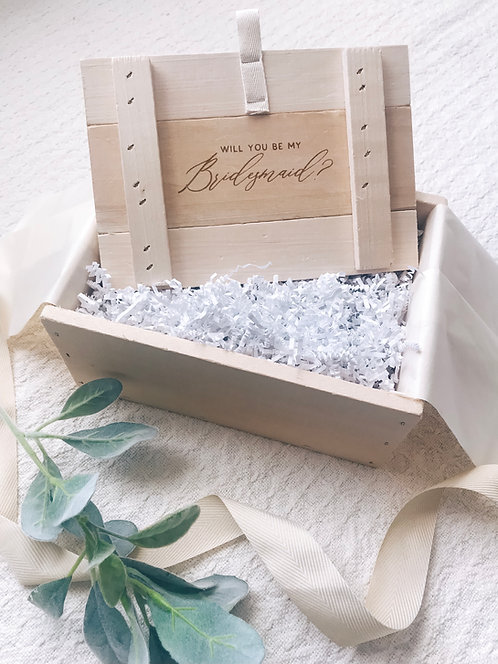 Small Pine Box with Engraved Proposal