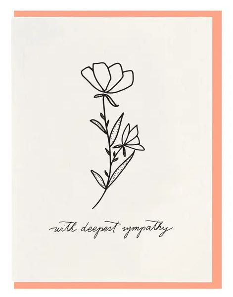 "Dahlia Press ""With Deepest Sympathy"" Letterpress Notecard"