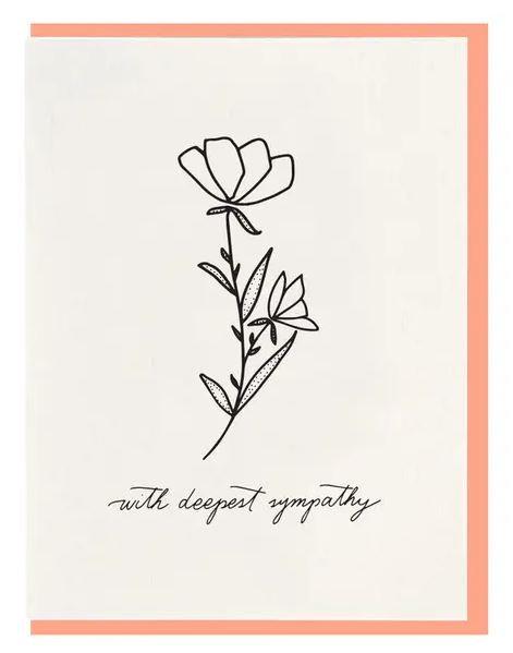 "Dahlia Press ""With Deepest Sympathy"" Letterpress Notecard"