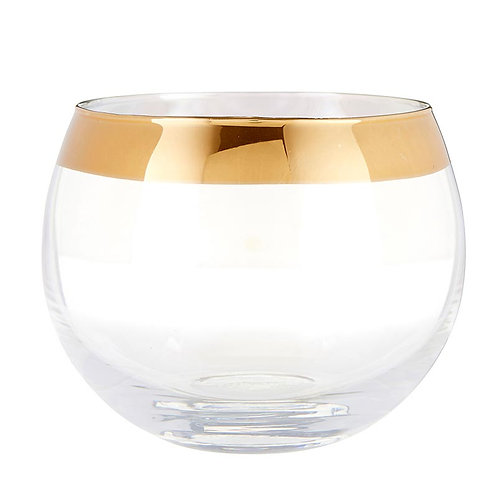 Gold Rimmed Roly Poly Wine Glass