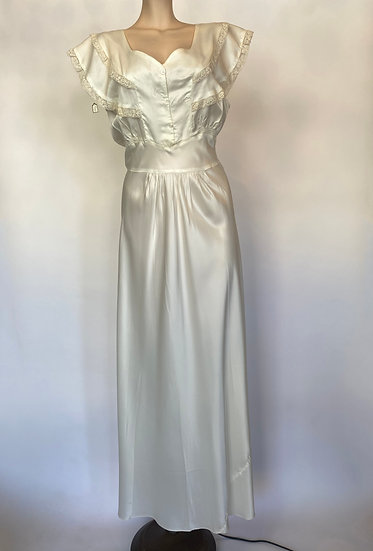 VTG NOSWTAGS Beauty Wedding Gown Nightgown Dress Satin Rayon SZ 34 1940's
