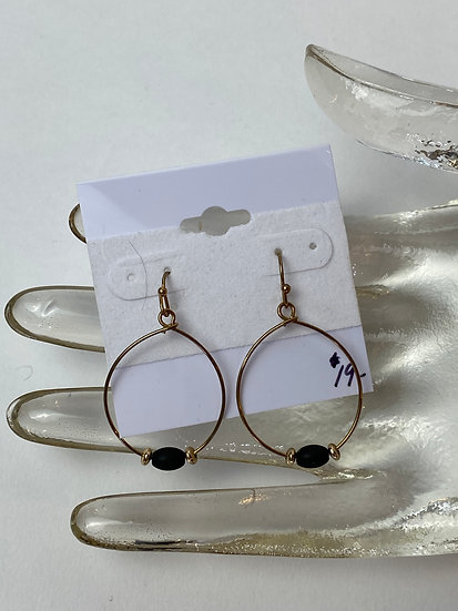 Gold Hoops with a Black Bead Earrings
