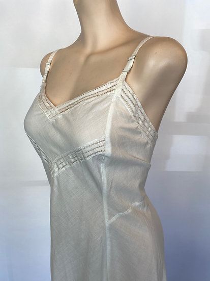 VTG NOS Soft Cotton Slip Dress w Lace Inserts 1940'S SZ 36
