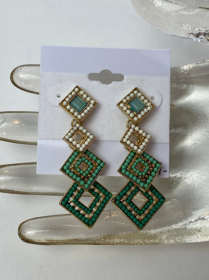 Gold, Ivory, Turquoise Shaded Earrings