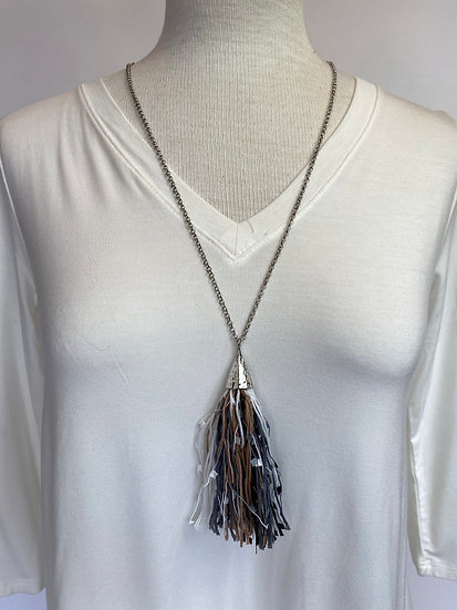 Tassel w Black Gray and White Silver Necklace