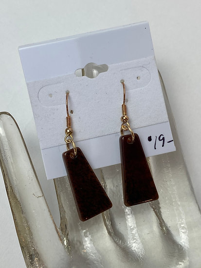 Dark Brown and Black Stone Earrings with Gold Accents