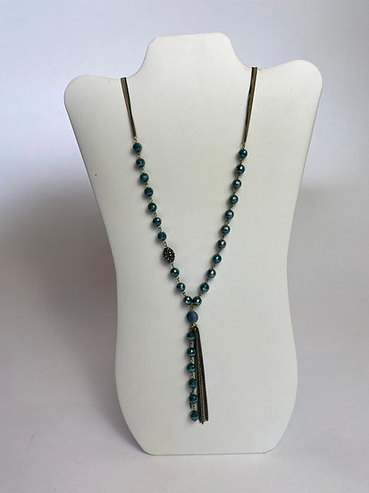 Gold and Teal Superb Beaded Tassel Necklace
