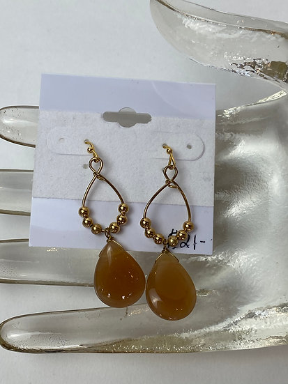 Gold Teardrop Earrings with Large Bead