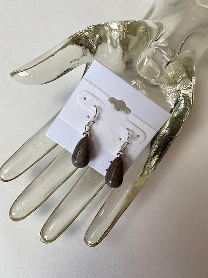 Grey Real Stone Earrings