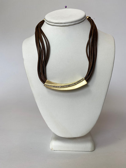 Brown and Gold Leather Necklace