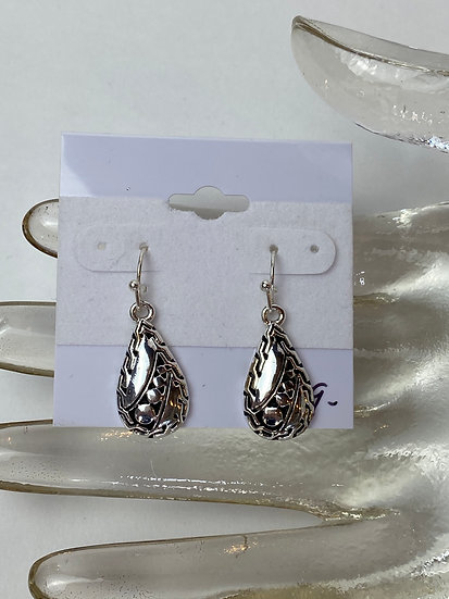 Small Silver and Black Teardrop Patterned Earrings