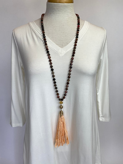 Peachy Pink Tassel Long Beaded Necklace Not Like Others