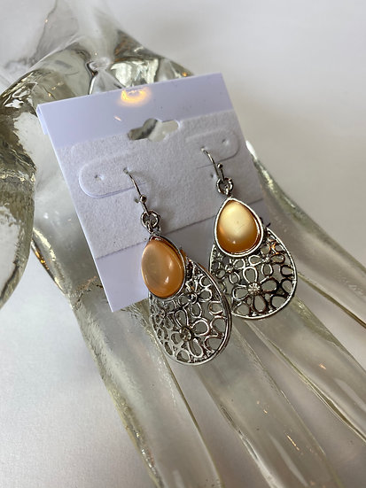 Filigree Teardrop and Peach Stone Earrings
