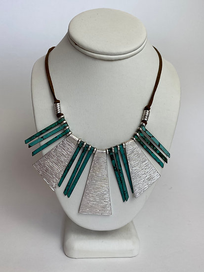 Turquoise & Silver Metal Leather Necklace
