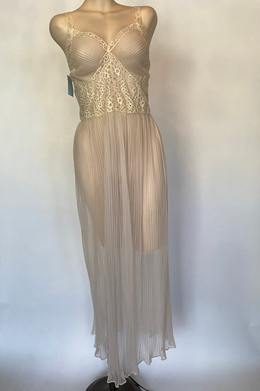 VTG NOSWTAGS Sheer Pink Accordian Nylon Nightgown Dress Gorgeous Lace