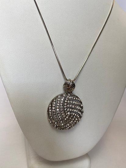 Round Silver and Rhinestone Necklace
