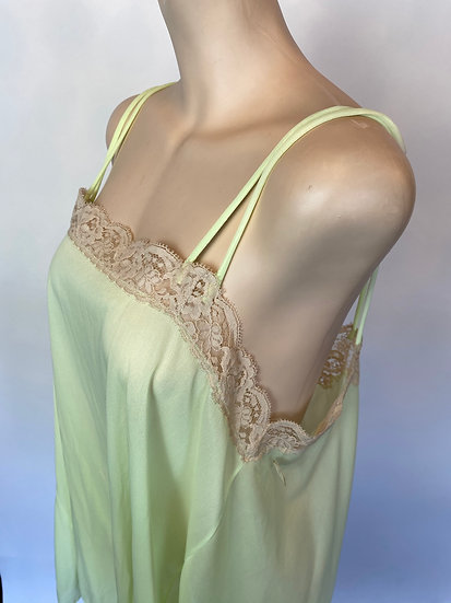VTG Formfit Rogers NOS Florescent Green Babydoll Nylon Nightgown w Lace M