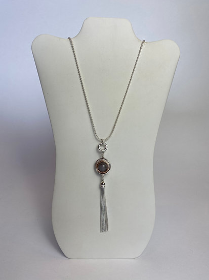 Dark Gray Glass Stone Bead Silver Tassel Necklace