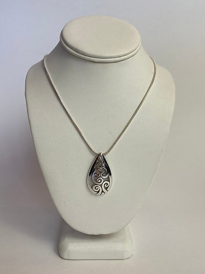 Silver and Black Cut Out Drop Necklace