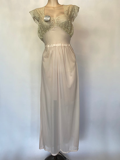 VTG NOSWTAGS Unbelievable Lace PINK Nylon Nightgown Dress  SZ 36
