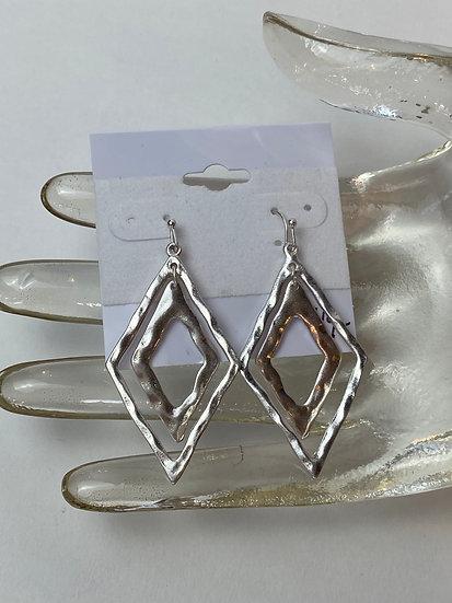 Double Diamond Stamped Metal Earrings