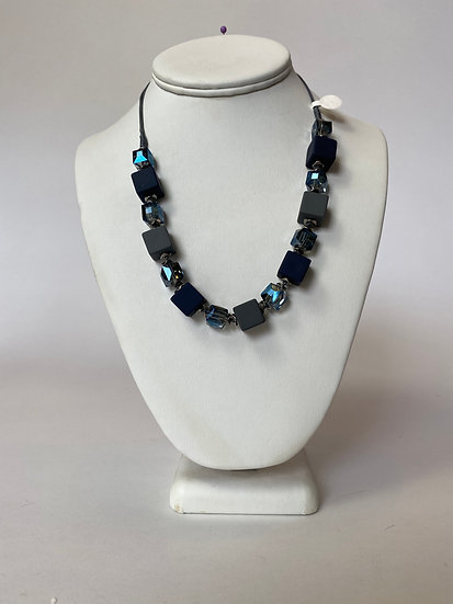 Navy Blue and Grey Necklace