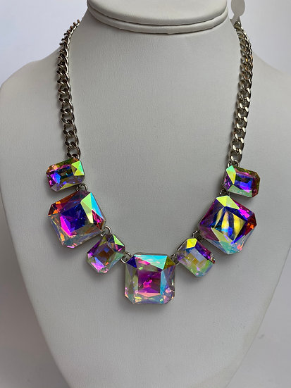 Aurora Borealis Like Statement Necklace & Earrings