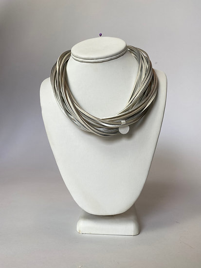 Silver Leather Necklace