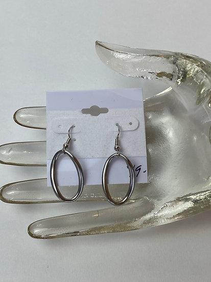 Silver Odd Shaped Hoop Earrings