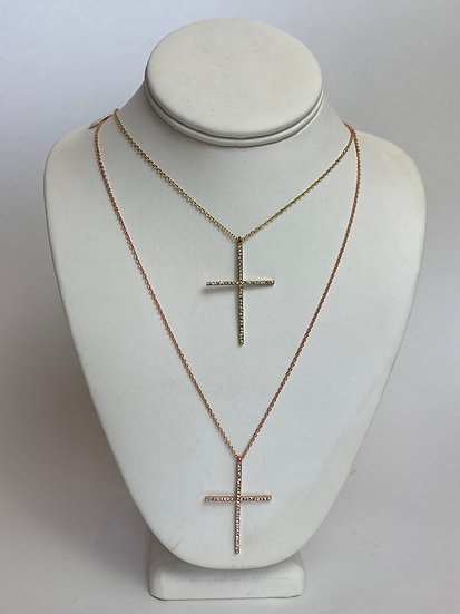 Rose Gold or Yellow Gold Rhinestone Cross Necklace