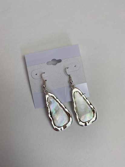 Silver and Ivory Stone Earrings