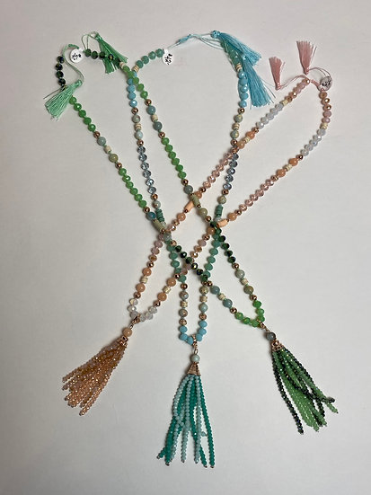 Marbled Beaded Tassel Necklaces