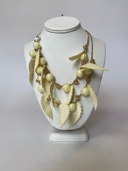 Off White Feather Necklace